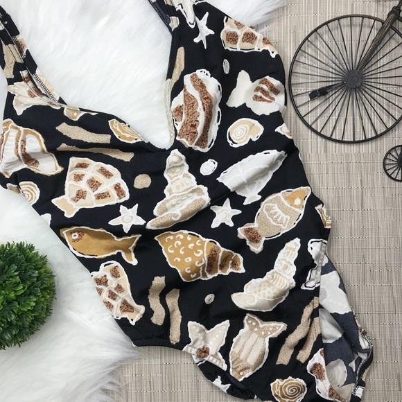 738c5b21db6b2 Vintage Seashell Print One Piece Bathing Suit. M_5c39054512cd4a8e89f9842a